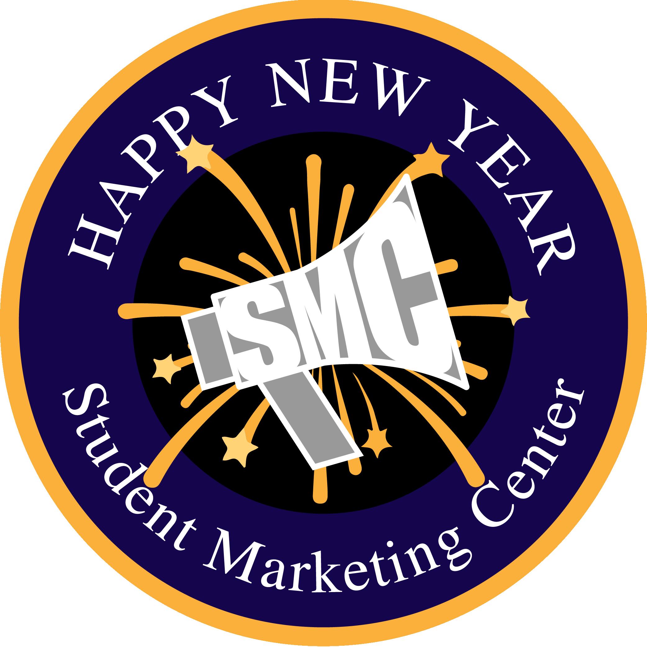 "SMC Logo in blue & gold w/exploding stars ""Happy New New"""